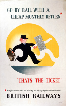 'Go by Rail with a cheap Monthly Return', c 1950s.