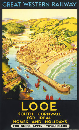 Looe, South Cornwall, for Ideal Homes and Holidays', GWR Poster, 1930.