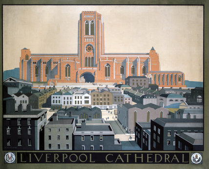 'Liverpool Cathedral', LMS poster, c 1930s.