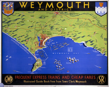 'Weymouth and District', Dorset, SR/GWR poster, 1938.