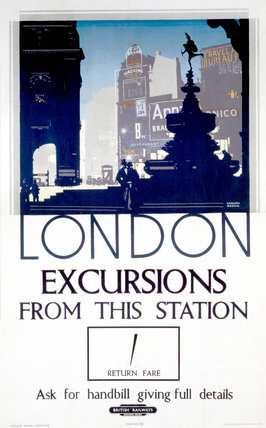 'London, Excursions from this station', BR (SR) poster, 1939.