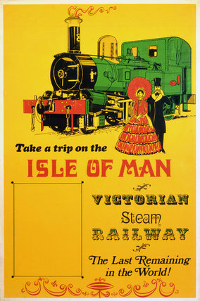 'Isle of Man Victorian Steam Railway', poster, c 1980s.