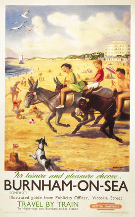 'Burnham-on-Sea', BR (WR) poster. Colour po