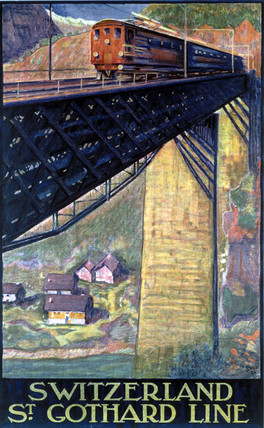 'Switzerland, St Gothard Line', Swis Federal Railways poster, 1924.