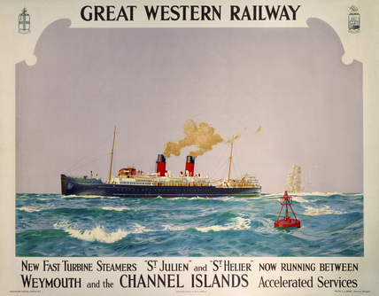 'New Fast Turbine Steamers', GWR poster, 1923-1947.