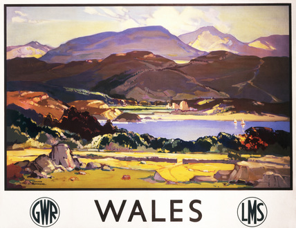 'Wales', GWR and LMS poster, c 1930-1939.