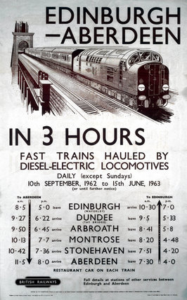 'Edinburgh-Aberdeen in 3 Hours', BR (ScR) poster, 1962.