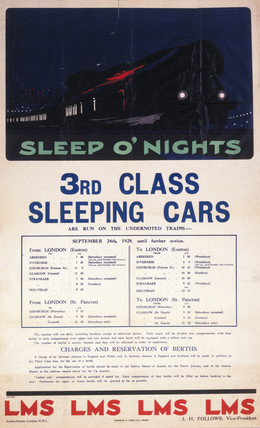 'Sleep O'Nights, 3rd Clas Sleeping Cars', LMS poster, 1928.