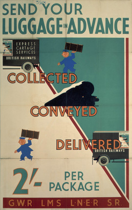 'Send Your Luggage in Advance', GWR/LMS/LNER/SR poster, 1923-1947.