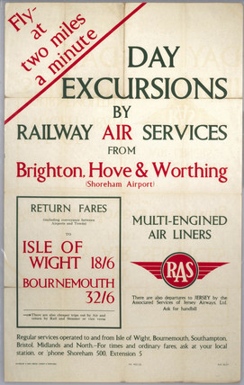 'Day Excursions by Railway Air Services', RAS poster, 1938.