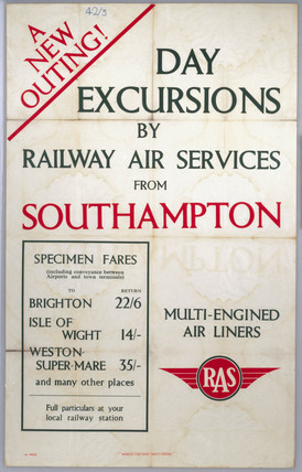 'Day Excursions by Railway Air Services', RAS poster, 1936.