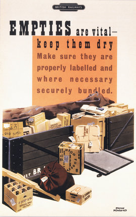 'Empties are Vital - Keep them Dry', BR poster, c 1950s.