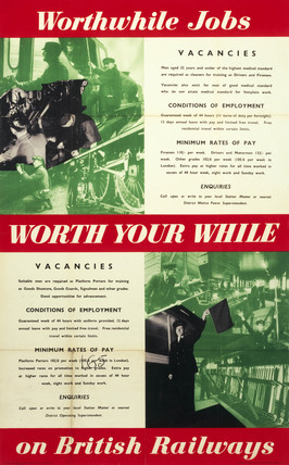 'Worthwhile jobs on British Railways', BR (LMR) poster, 1951.
