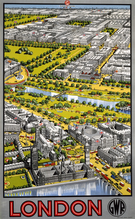 aerial view of Central London, GWR poster, 1936.