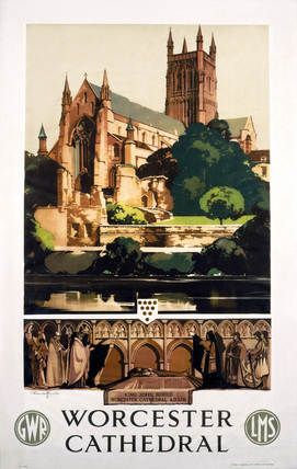 'Worcester Cathedral', GWR/LMS poster, 1932.
