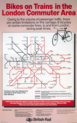 'Bikes on Trains in the London Commuter Area', BR poster, 1982.