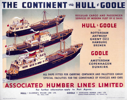 'The Continent via Hull and Goole', BR (NER) poster, 1948-1965.
