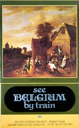 'See Belgium by Train', Belgian National Railways poster, c 1970s.