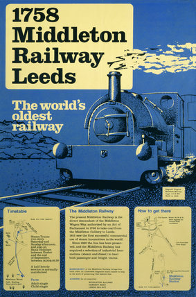 '1758 Middleton Railway, Leeds, MR poster, c 1970s.