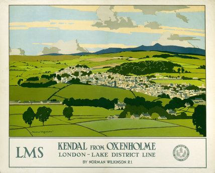 'Kendal from Oxenholme', LMS poster, 1923-1947.