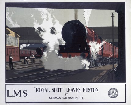 'The Royal Scot Leaves Euston', LMS poster, 1923-1947.