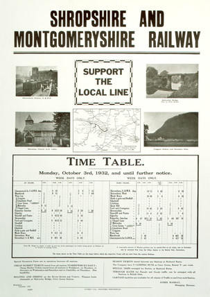 'Support the Local Line', Shropshire & Montgomeryshire Railway poster, 1932.