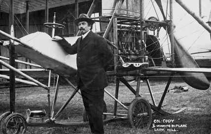 Samuel Franklin Cody with his biplane 'Lark Hill', 1912.