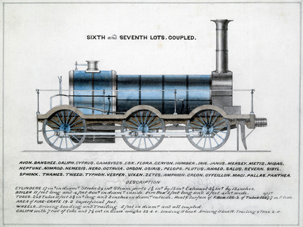 'Sixth and Seventh Lots, coupled', steam locomotive, 1857.