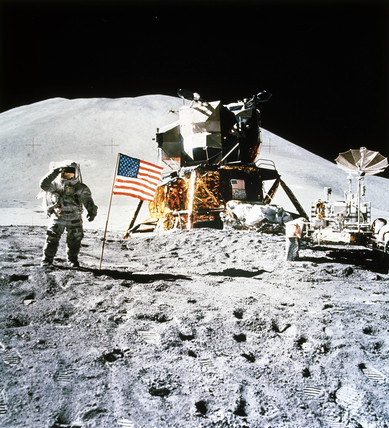 Apollo 15 astronaut saluting the flag, 1971.