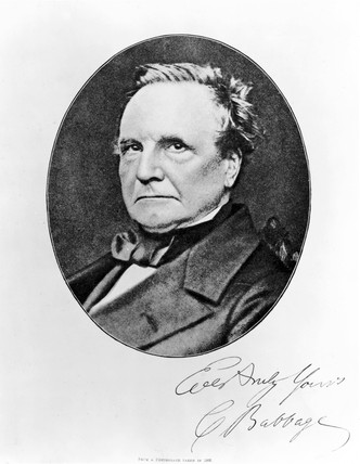 Charles Babbage, British mathematician and computing pioneer, 1860.
