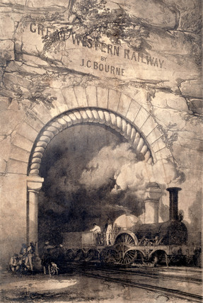 'Acheron' 2-2-2 locomotive emerging from a tunnel near Bristol, 1846.