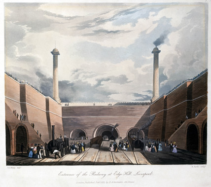 'Entrance of the Railway at Edge Hill', 1833.