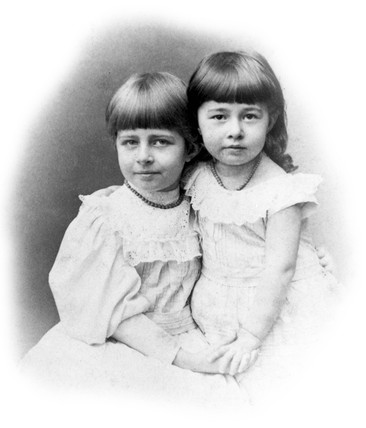 Johanne and Matilda Hertz, daughters of Heirnrich and Elizabeth Hertz, c 1889.