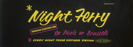 'Night Ferry', BR carriage advertisement, 1950s.