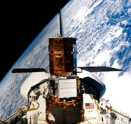 Solar Maximum Satellite in the cargo bay of the Space Shuttle Challenger, 1984.