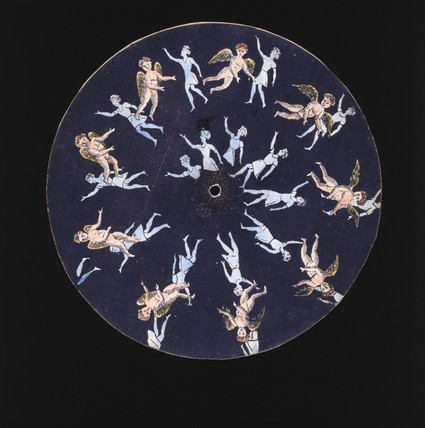 Phenakistoscope disc showing a cupid and two girls, c 1830.