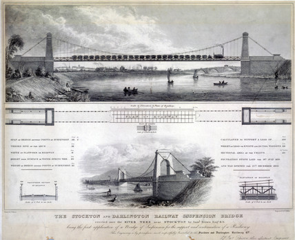 'The Stockton and Darlington Railway Suspension Bridge', c 1830.