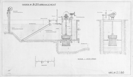 Scale diagram of water turbine, 1924. Techn