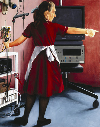 Nurse in a red uniform, Endoscopy Unit, 1992.