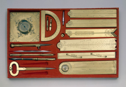 Set of mathematical instruments, c 1701.