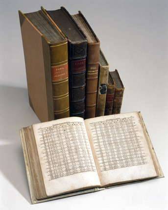 Books of mathematical tables owned by Charles Babbage, 16th-19th century.