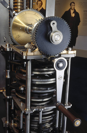 The handle mechanism of Babbage's Difference Engine No 2, 1991.