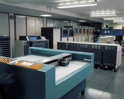 Computer room at Imperial College, London, 1975.