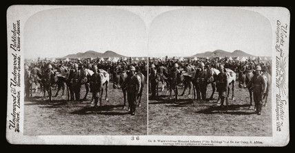 'Co B Warwickshires Mounted Infantry at De Aar Camp, South Africa', 1900.