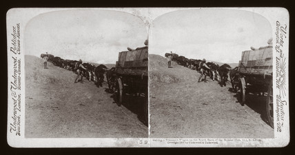 'Getting a Transport Wagon up the North Bank of the Modder, South Africa', 1900.