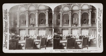 'Interior of Upper 'Raad' (legislative asembly), Pretoria, South Africa', 1901.