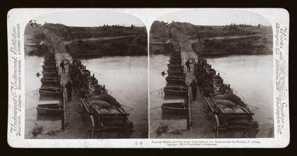 'Pontoon Bridge built by Royal Engineers acros the Modder, South Africa', 1900.