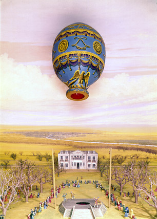 Montgolfier balloon ascent, Boulogne, 1783.