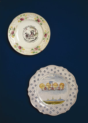 Plates painted with aerial scenes,  c 1850.