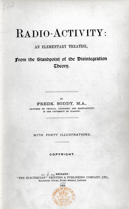 The title page from 'Radio-Activity: An Elementary Treatise', 1904.